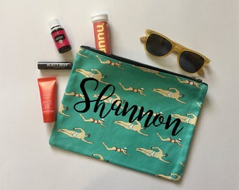 FREE SHIPPING Personalized Swim Makeup bag | Gym pouch | Gift for her | Purse | Clutch | zippered bag | Swimming | Pool rat | funny | gym