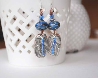 Blue Earrings, Stamped Soldered Jewelry, Lampwork Earrings, Unique Artisan Earrings, Boho Chic Earrings, Metal Earrings
