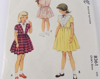 McCalls 8361  1950 Vintage Sewing Pattern Girls Party Church Dress