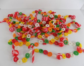 Vintage Lifesaver Candy Candy Cane Christmas Plastic Blow Mold Garland 25 feet