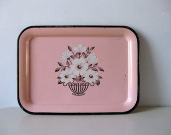 Vintage pink Decoware metal serving tray Pink and black tray