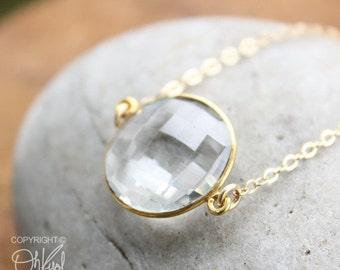 CHRISTMAS SALE Gold Crystal Quartz Bezel Necklace - Gemstone Necklace - Simple Jewelry