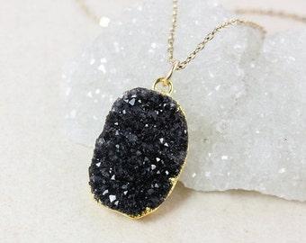 50 OFF SALE Black Druzy Necklace – Choose Your Druzy – Organic Oval