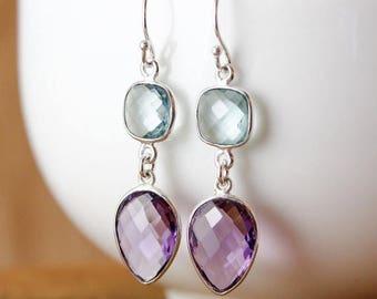 ON SALE Aqua Quartz & Amethyst Quartz Earrings - Elegant Earrings - 925 Silver