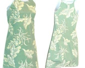 Preppy - Sundress - Mini Dress - Hawaiian Print - Sage Green - Size Small -Cotton - Botanical - Surfer - Recycled - Beach - Retro - Girly