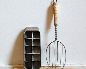 Vintage Farmhouse Pair Small Metal Ice Tray and Wood Handle Wire Ladle for Rustic Kitchen Decor Cottage.