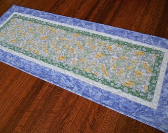 Spring Quilted Table Runner, Easter Decor, Yellow Green Lavender Flowers, Floral Quilted Table Runner, Dresser Runner, Quilted Tablecloth