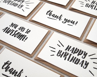 Letterpress Mini Cards, Compliment Cards, Gift Card Holders, Gift Tags with envelopes  - Set of 8