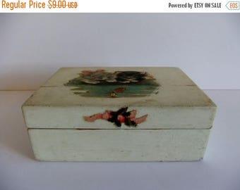 ON SALE Vintage Box - Trinket Box - Wooden box - Card Box - Little Girl jewelrey box - decoupage - Stocking Stuffer - Vintage gift idea - sw