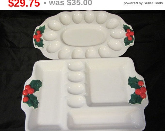 Set Vintage Egg Platter and Horderve Serving Platter White Ceramic Made in Japan With Touch of Holly, Holiday Serving Trays, Holly Egg Dish