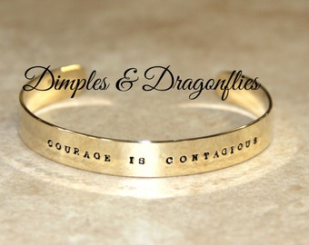 Skinny Hand Stamped Quote Bracelet - Courage Cuff - Inspirational Keepsake Jewelry by Dimples & Dragonflies