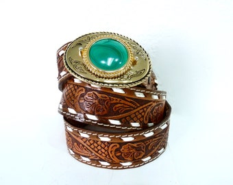 Vintage Lether Western Bealt Hand Tooled Brown Gold Engraved Malachite buckle belt Size 40