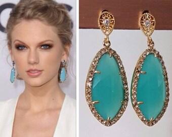 Taylor Swift Aqua Mint Gold Cubic Zirconia Pave Teardrop Earrings
