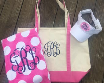 Monogrammed Boat Tote, Personalized Tote Bag, Embroidered Boat