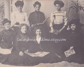 Vintage Real Photo Postcard - RPPC - Group of Young Edwardian Women Holding Books.