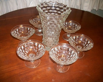 Fostoria Vase+  6 Sherbet  Cups Clear Cut Glass Desert Cups Stacked Cube Design