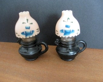 Vintage Oil Lamp Salt and Pepper Shaker Set
