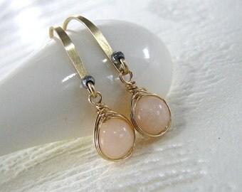 Opal Earrings, Pink Opal Earrings, Gold Earrings, Natural Pink Opal Gemstone, Pink Earrings,  October Birthstone Earrings - Pendulum