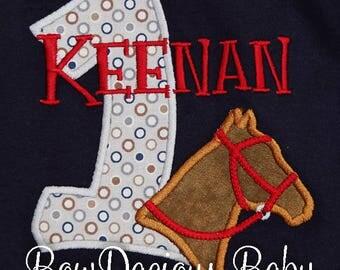 1st Birthday Horse shirt, Baby Boy Birthday Horse Bodysuit, 1st Birthday Farm Birthday Outfit, Boy Horse Shirt, Custom, Any Age, Any Colors