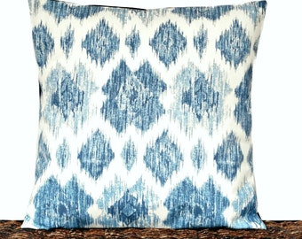 Blue Ikat Pillow Cover Cushion Light Blue Denim Navy Beige Coastal Repurposed Decorative 16x16