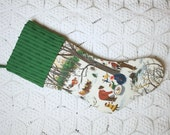 "Grandma Moses ""Sugaring Off"" Vintage Barkcloth Christmas Stocking with Dark Green Vintage Chenille Cuff"