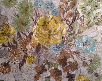 Vintage 50s 60s Decorator Barkcloth Fabric Floral Flowers 7 yards yardage Metallic Gold Flecks