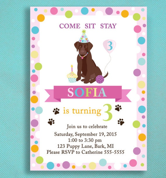 puppy party invitations for girls puppy adoption party puppy party invitations - Adoption Party Invitations