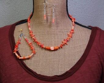 Natural Orange coral Gemstones, 925 Silver Necklace, Bracelet, and Earrings