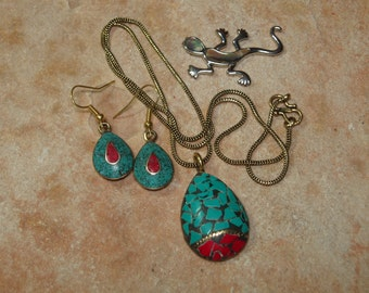 Hand Inlay Turquoise and Red Coral,  Bronze Necklace and Earrings