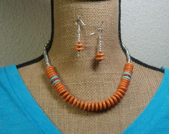 Orange , Red and Blue Gemstone Heishi, 925 Silver Necklace and Earrings