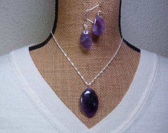 Natural Amethyst Gemstone, 925 Silver Necklace and Earrings