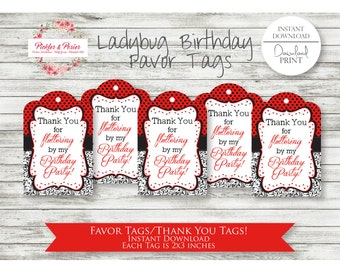 Ladybug Birthday Favor Tags - Ladybug Party Favor Tags - Ladybug Party Favors - Ladybug Party Supplies - INSTANT DOWNLOAD - Lady bugs