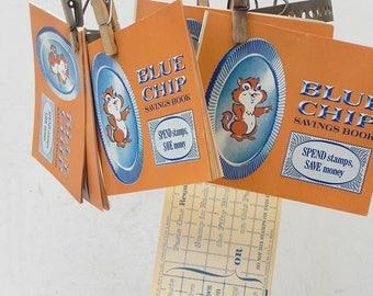 7 Vintage Blue Chip stamps savings book
