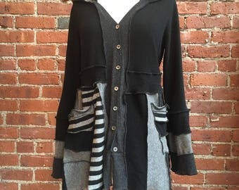 100% cashmere recycled sweater- long cardigan- sweater duster- black and gray cashmere- stripes-long sweater cardigan- pixie