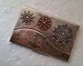 Riveted Filigree Silver Business Card Case