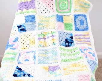 SALE - Miniature Squares Crochet Baby Blanket