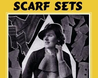 Weldons 4D #104 c.1935 Vintage Depression era Knitting Patterns for Glove and Scarf Sets (PDF EBook - Digital Download) Plus Bonus Pages!