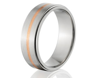 Copper Ring Titanium Wedding Ring Copper Inlay Ring Titanium Wedding Band Titanium Wedding Ring Copper Jewelry Wedding Ring :7RRC-11G-B