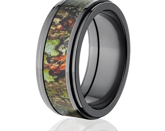 new black zirconium 9mm obsession licensed mossy oak camo ring camo wedding ring black zirconium mossy - Mossy Oak Wedding Rings