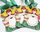 Irish Girl Tags - Set Of 6 - Vintage Irish Doll - St Patrick's Day - 1950's Holiday Tag - Green White Orange - St Pat's Ornaments -