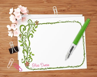 Olivia (Doodle Flowers) - Set of 8 CUSTOM Personalized Flat Note Cards/ Stationery