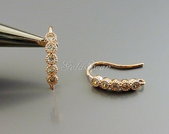 2 rose gold CZ studded linear bar hook earrings, rose gold Cubic Zircon CZ ear wires, hook ear wires 2056-BRG