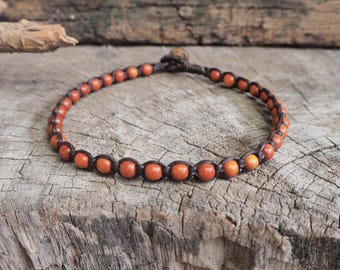 Wood Round Beads Anklet, simple unisex anklet