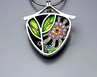 Ivy Woodrose sterling silver, PMC, and resin enamel pendant