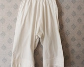 Victorian White Cotton Floral White Work Ruffled Eyelet Bloomers or Pantaloons