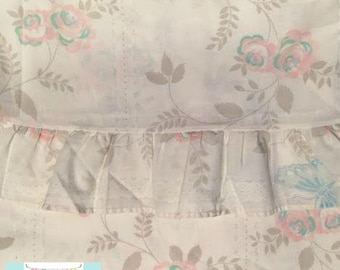 Twin Vintage Flat Gray and Pink Floral Sheet