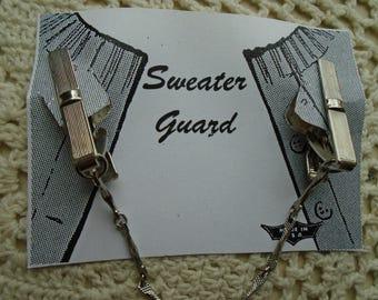 Sweater Clip  Sweater Guard Silver Tone Bar Type Alligator Clips Single Fancy Chain FREE SHIPPING
