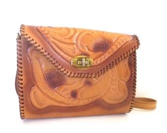 Vintage Floral Tooled Leather Bag
