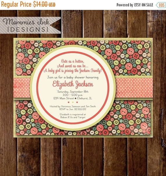 10% OFF SALE Baby Shower Invitation, Cute as a Button Baby Shower Invitation, Button Shower Invitation, Sewing Invitation, Button Theme, DIY