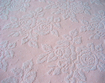 "White on Pink Roses Pearls Hobnail Vintage Chenille Bedspread Fabric 47"" x 34"""